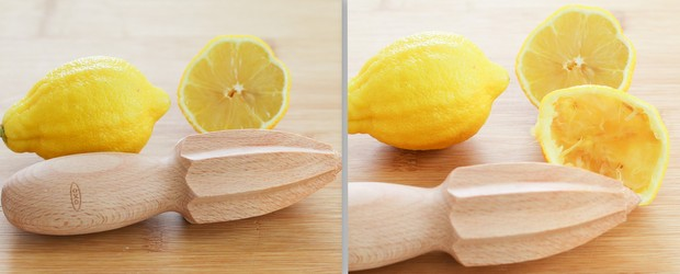 photo collage of lemons before and after their juiced