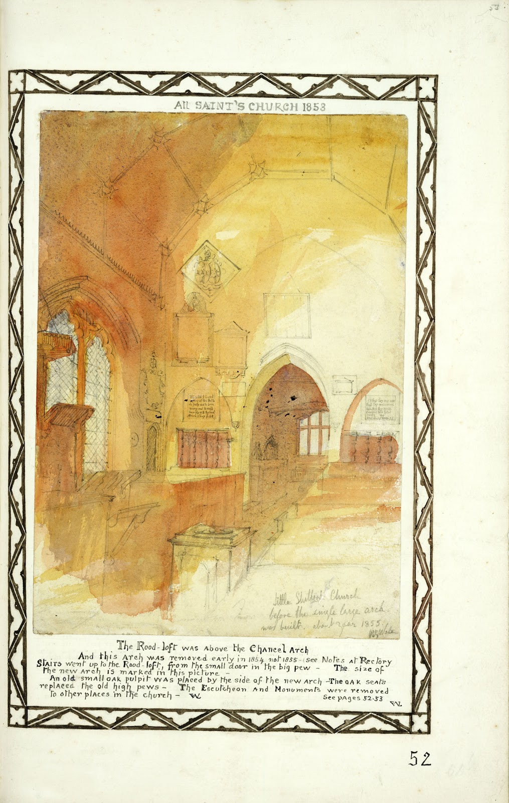 A Record of Shelford Parva by Fanny Wale P52 fo. 53, page 52: 'All Saints Church' Little Shelford coloured watercolour 'before the single large arch was built 1855', 1853. [fo.40]