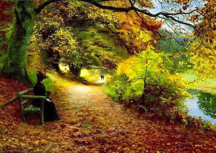 Hans Anderson Brendekilde - Wooded Path In Autumn