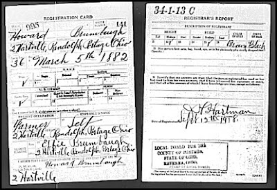 Howard Brumbaugh WWI Registration Card