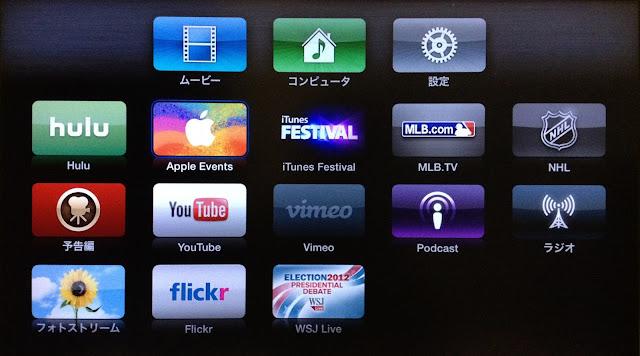 Apple TVのメニュー内に現れたApple Events