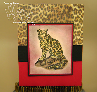Picture of the front of red leopard card