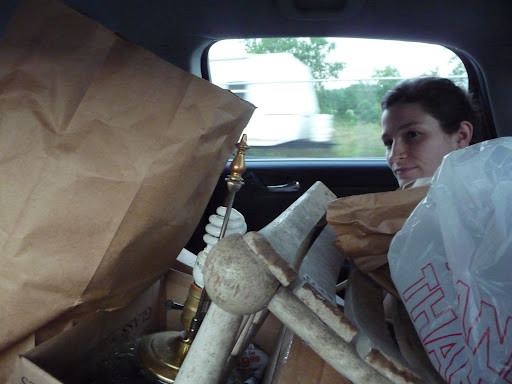 Heading back in a car packed with treasures!