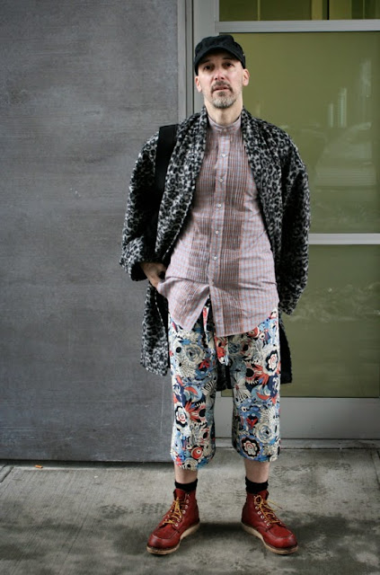 Men's pleated shirt made with plaid cotton shirting from Mood Fabrics NYC, and paired with floral cotton voile Thai fisherman pants.