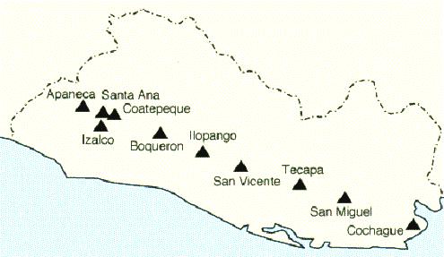 Mapa de El Salvador con sus volcanes