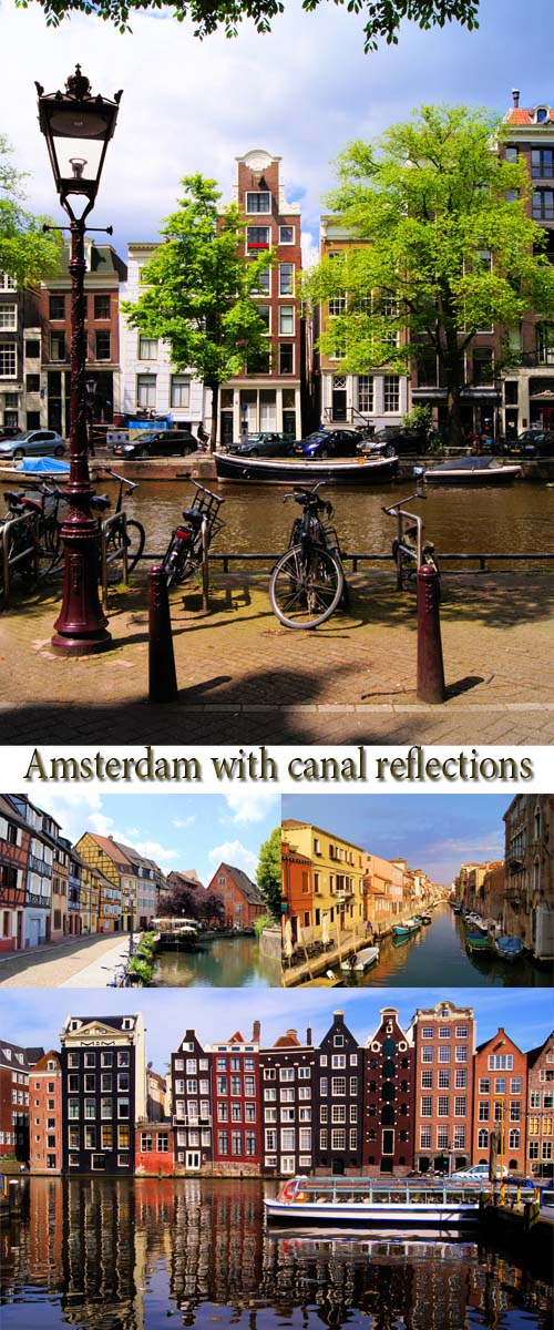 Stock Photo: Traditional houses of Amsterdam with canal reflections