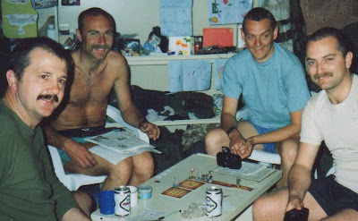 Ian and his mates playing Advanced HeroQuest during the 1st Gulf War