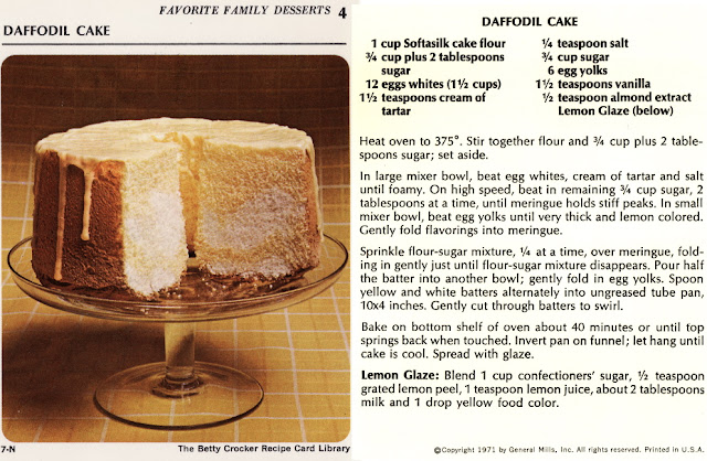 Daffodil Cake | Betty Crocker Recipe file 1972