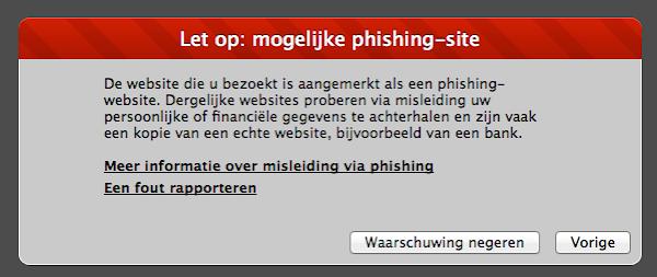 Phishing waarschuwing