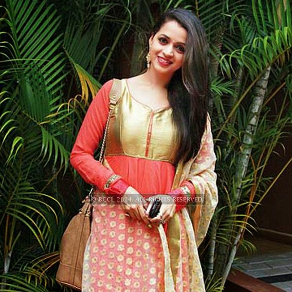 Bhavana during the wedding reception of actress Shritha Sivadas and her beau Dubai-based engineer and singer Deepak Nambiar in Kochi.