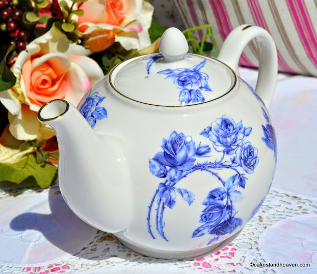Elizabeth Rose Blue Fine Bone China Teapot