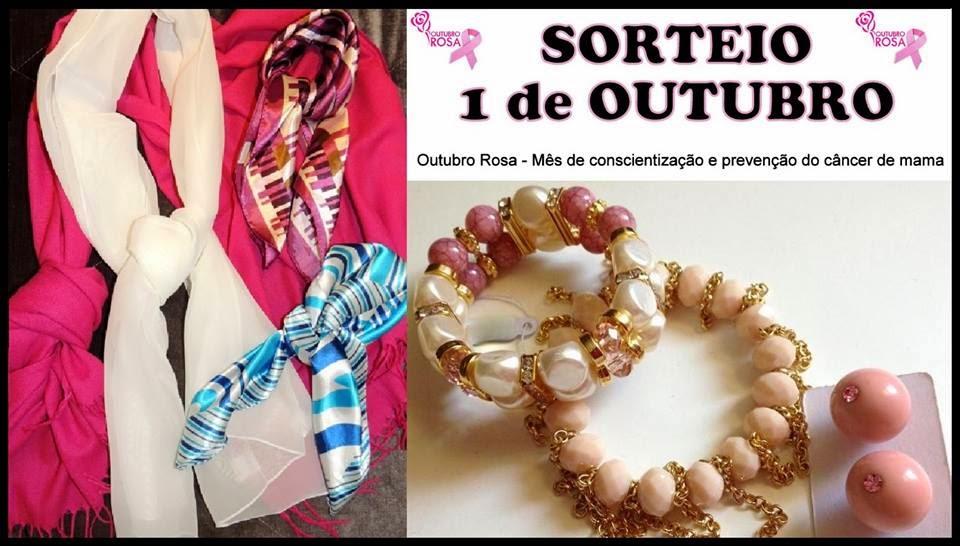 premios sorteio outubro rosa lenços pashmina bijuterias