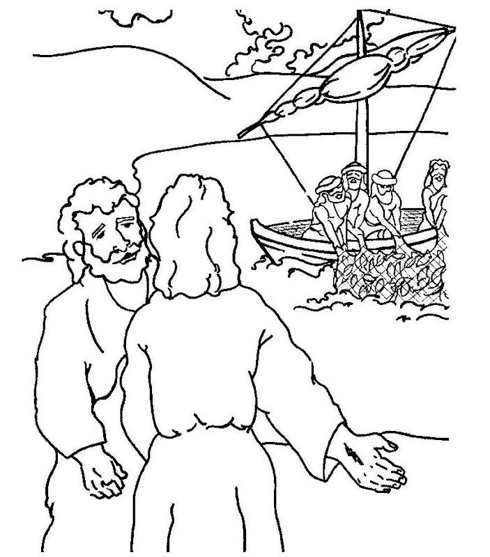 Jesús invita a los apostoles a que lo sigan para colorear