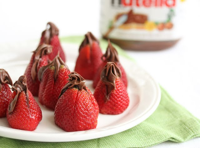 close-up photo of Nutella Stuffed Strawberries