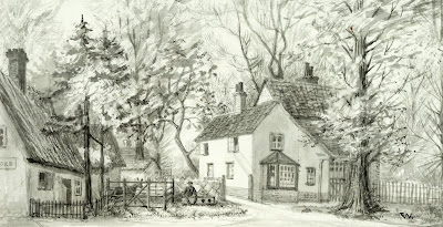 """The Pound Yard and Lime Cottage. this pond was removed about 1859 and the stocks before that date. The evening school now called Studio Cottage is at the end of the path."" From A Record of Shelford Parva by Fanny Wale P66"