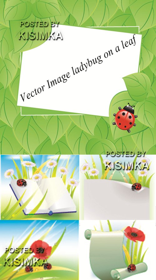 Stock: Vector Image ladybug on a leaf