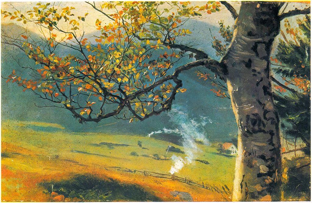 Hans Thoma - Baum im Herbst vor Wiesental