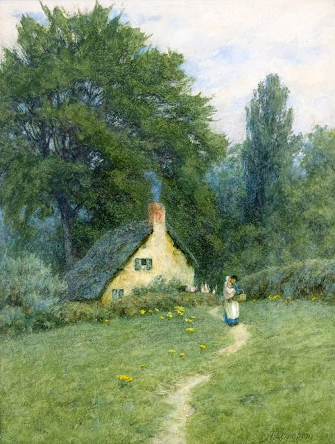Helen Allingham - A Thatched Cottage near Disley, Cheshire