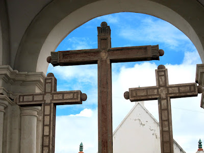 Crosses at the church in Copacabana on Lake Titicaca in Bolivia