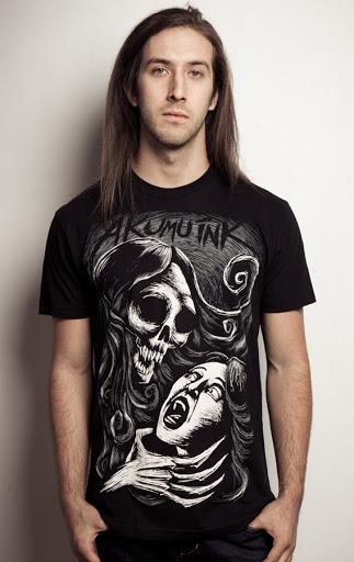 ghost tshirt, scary ghost tshirt, death woman tshirt, tattoo fashion, nightmare tshirt, ghost eating girl face, ghost victim, black monster tshirt