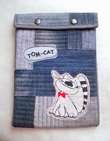 чехол для планшета, лоскутное шитье, чехол для планшета в технике лоскутного шитья, джинсовый чехол для планшета