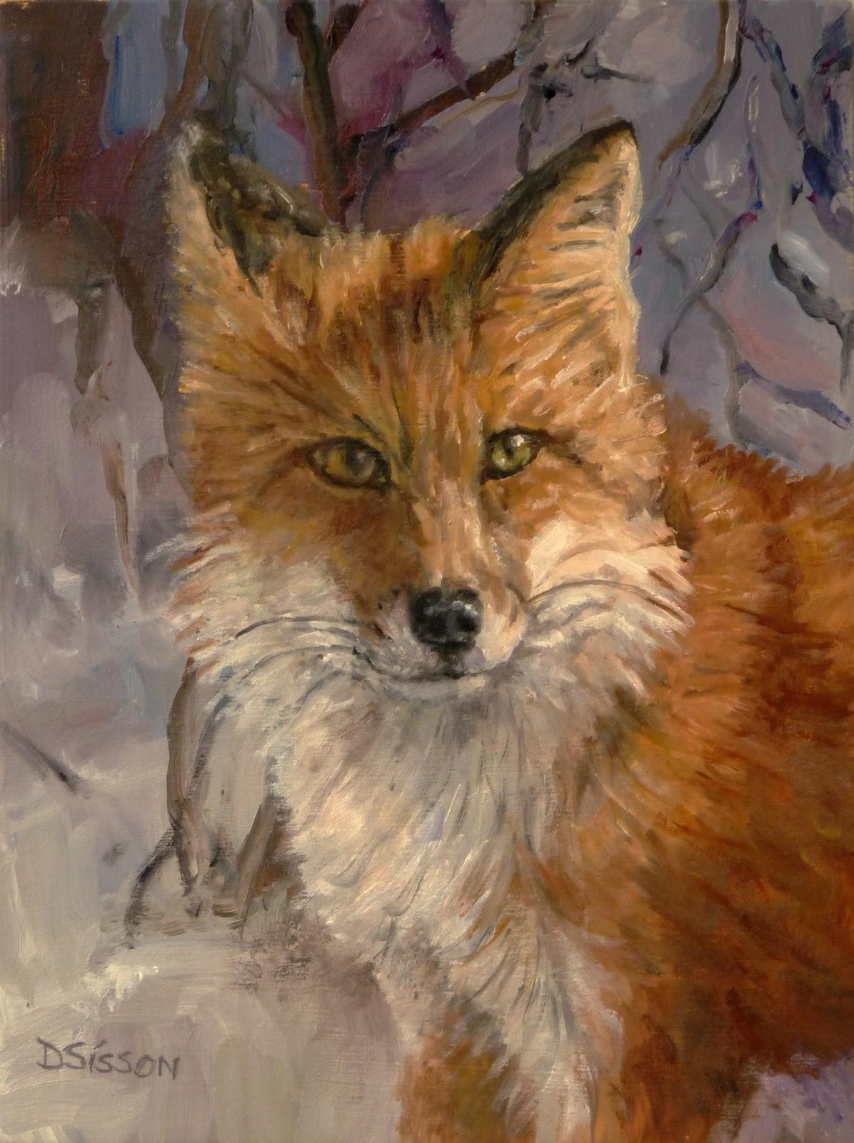 Daily Painters of Arkansas Wary Fox Debra Sisson Oil