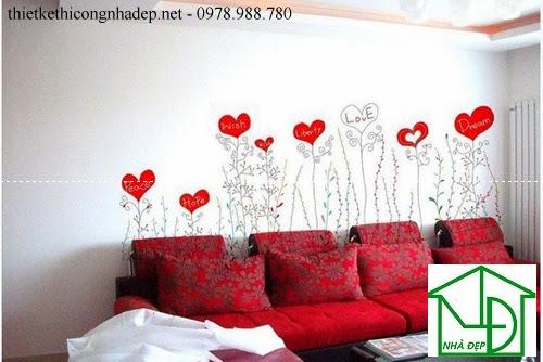 Tranh tường cho phòng khách lãng mạng