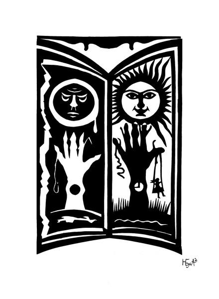 Черное и белое (цветная бумага 31х21)