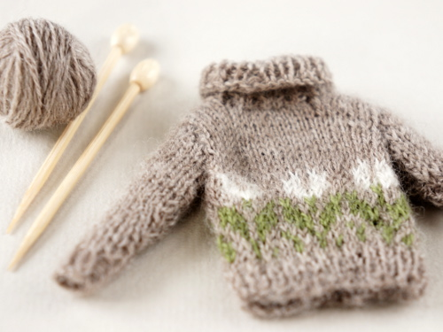 Sweater with snowdrop pattern