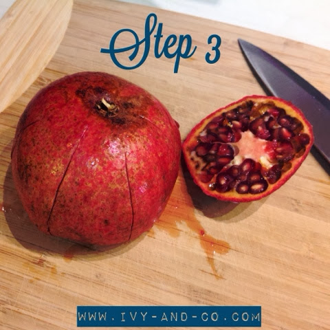 how to cut open a pomegranate step