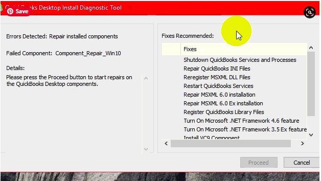 QuickBooks Component repair tool: diagonstic tool