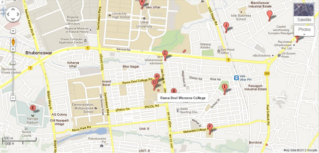 Rama Devi Womens College Bhubaneswar Area Map