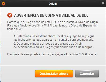 Error compatibilidad DLC Origin
