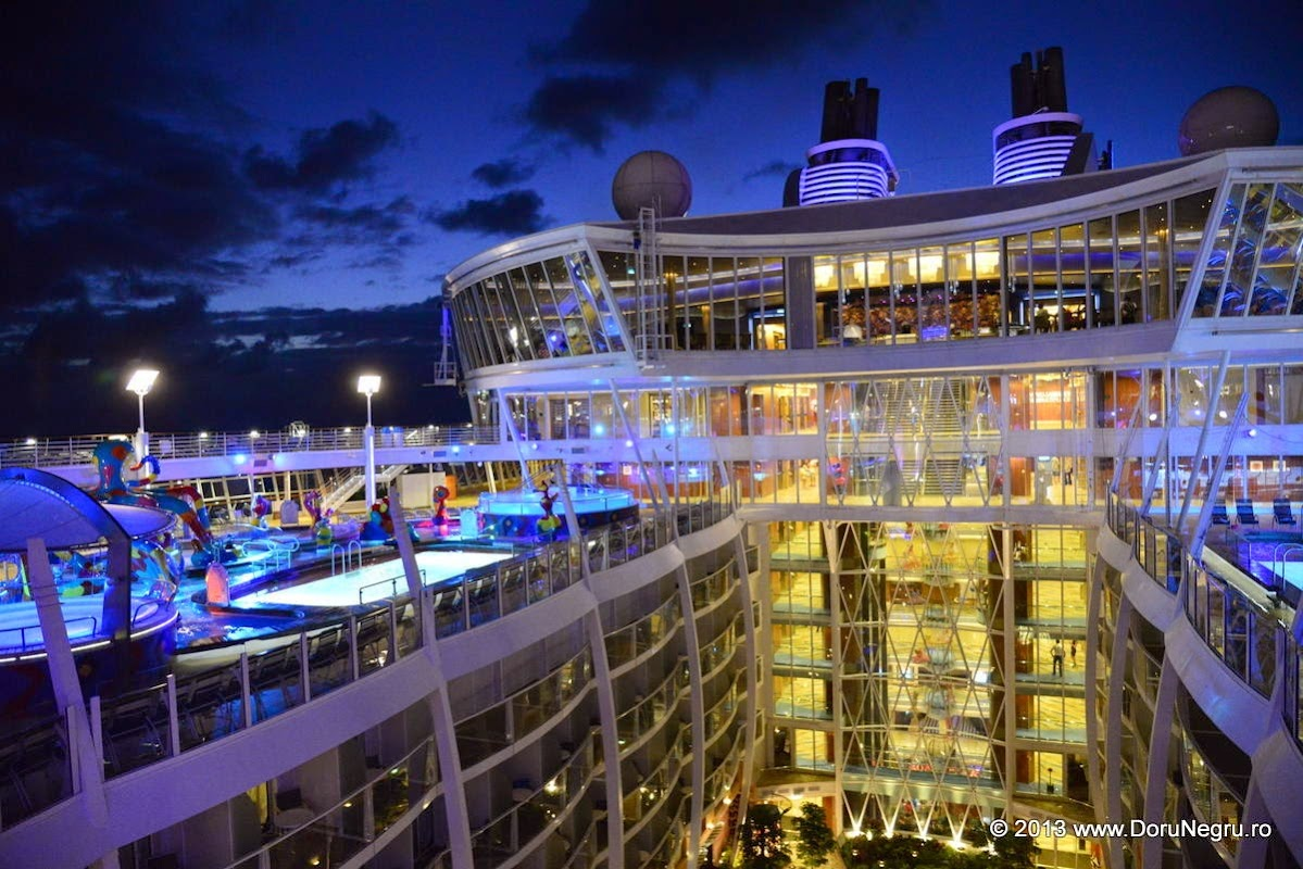 The Allure of the Seas, the largest cruise ship in the world, with its interior park, top deck pools, restaurant and lounge