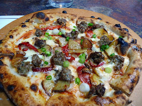 Wild Fennel Sausage with potato, tomato, chilies, scallions, smoked mozzarella Oven and Shaker, Cathy Whims, Pearl District, Portland, wood fired pizza