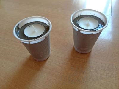 Decorativos candelabros hechos con cemento.