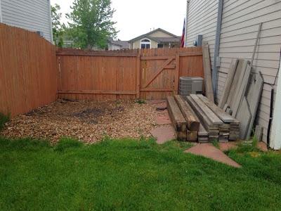 BEFORE side yard deck renovation www.thebrighterwriter.blogspot.com