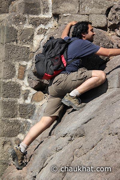 Bhavesh climbing up Shivneri