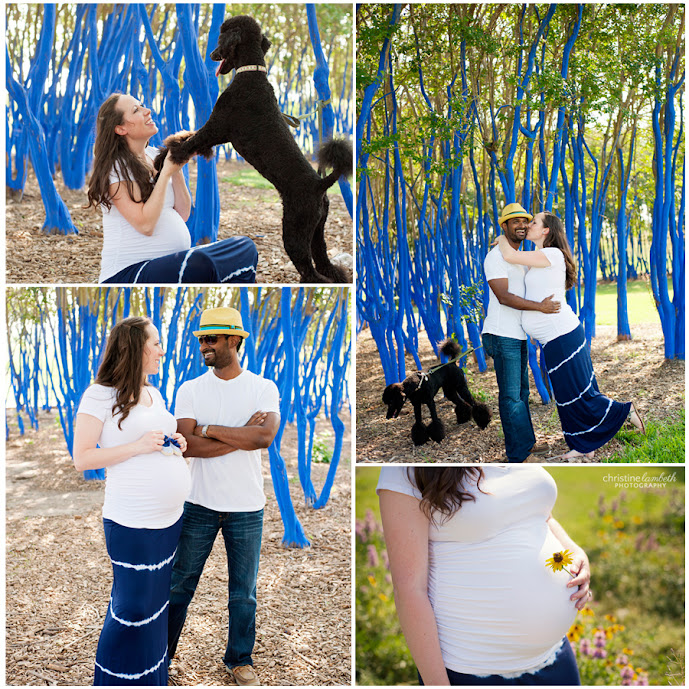 Bethany and Saby maternity blue trees