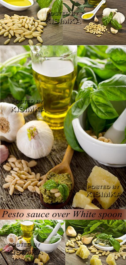 Stock Photo: Pesto sauce over White spoon