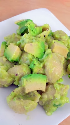 Recipe of Green Mac and Cheese for St Patricks: Avocado Mac and Cheese, using cheddar and many green things like avocado, green jalapeno, lime, green onion, cilantro