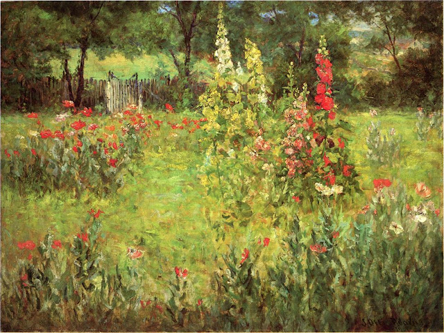 J. Ottis Adams - Hollyhocks and Poppies - The Hermitage