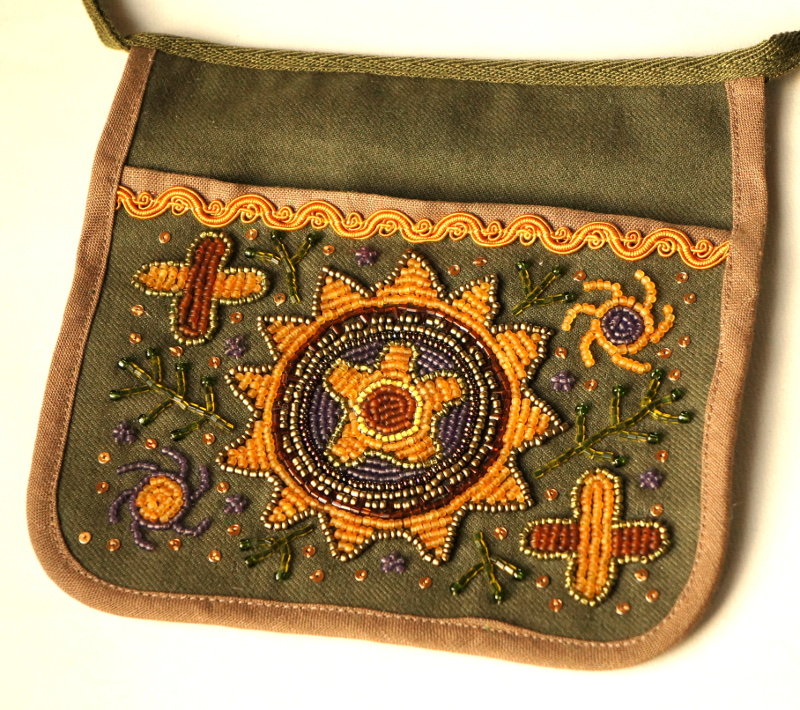 Bead embroidered belt pocket