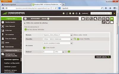Configuración de módulos y alertas de agente en servidor de monitorización Pandora FMS