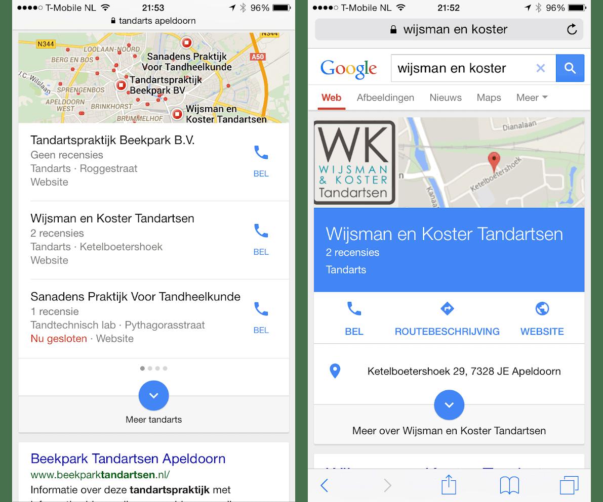 Nieuwe lokale zoekresultaten op mobiel