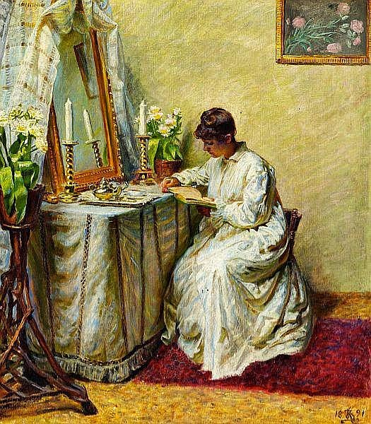 Kristian Zahrtmann - A young woman in a white dress reading at her dressing table