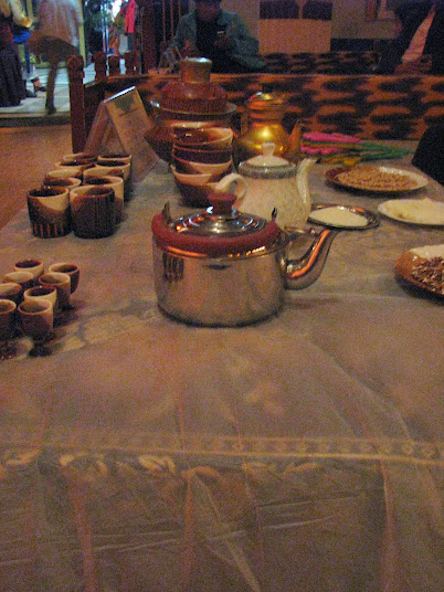 Yak butter tea and other Tibetan snacks at the Shangri-La Cultural Show. Try at your own risk! (2012)