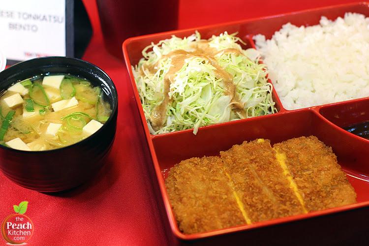 Tokyo Tokyo Cheese Tonkatsu Bento, Miso Soup, and Red Iced tea | www.thepeachkitchen.com
