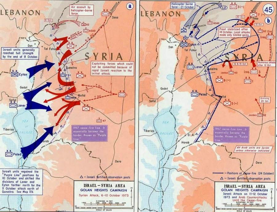 Карта боевых действий в войну Судного Дня 1973 г. На Голанских высотах.