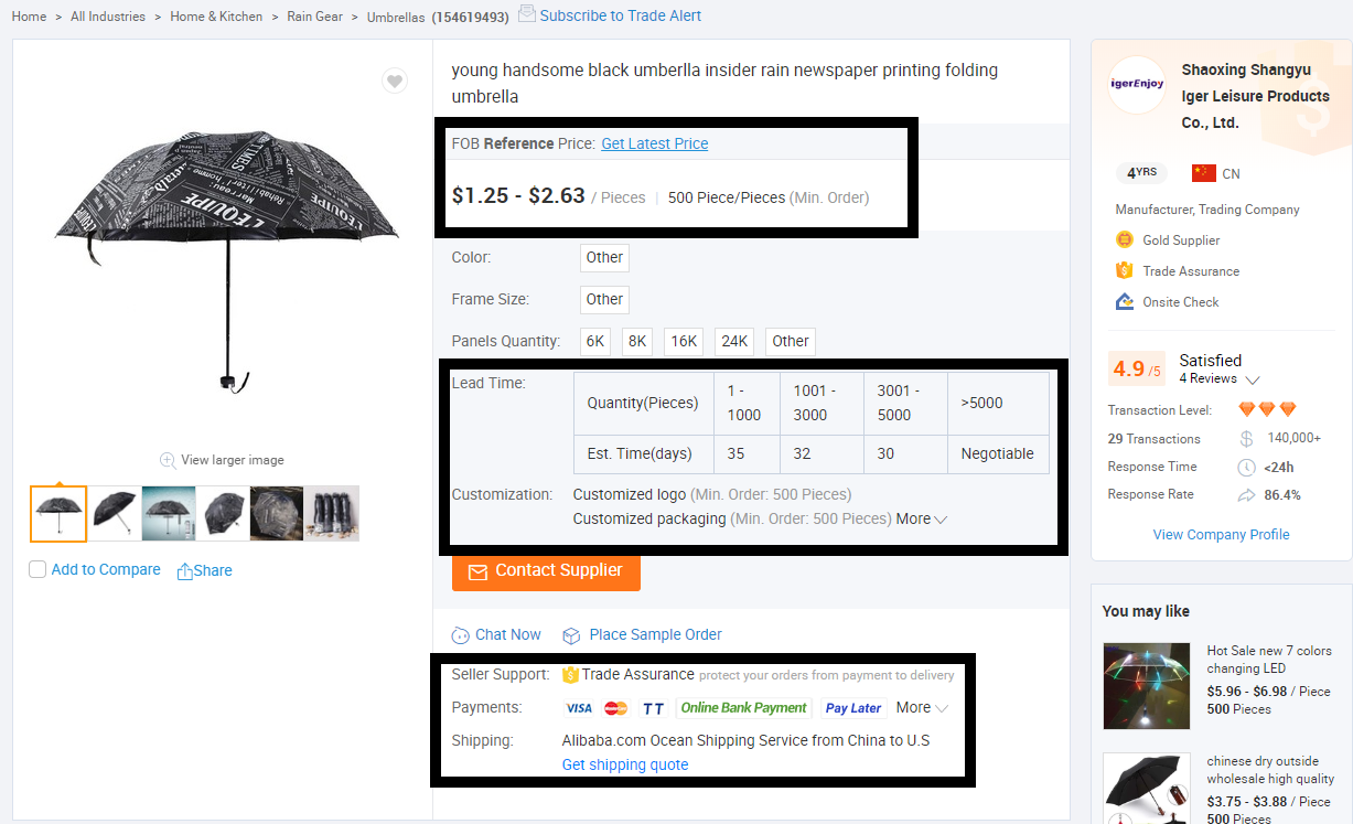 product page information